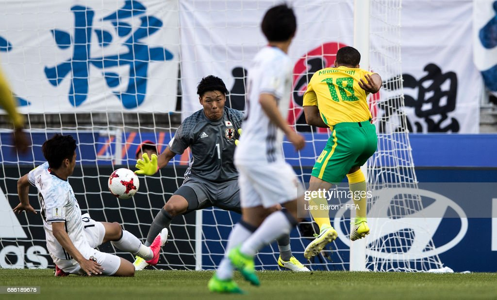 Grant Margeman of South Africa scores his teams first goal during the FIFA U-20 World Cup Korea Republic 2017 group D match between South Africa and Japan at Suwon World Cup Stadium on May 21, 2017 in Suwon, South Korea.