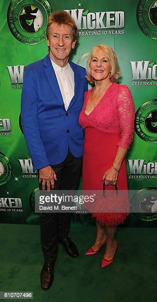 Grant McCahon and Nina Myskow attend the hit musical Wicked celebrating 10 years at The Apollo Victoria Theatre on September 27 2016 in London England