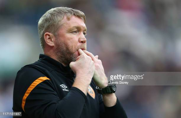 Grant McCann, Manager of Hull City gives his team instructions during the Carabao Cup Second Round match between Preston North End and Hull City at...