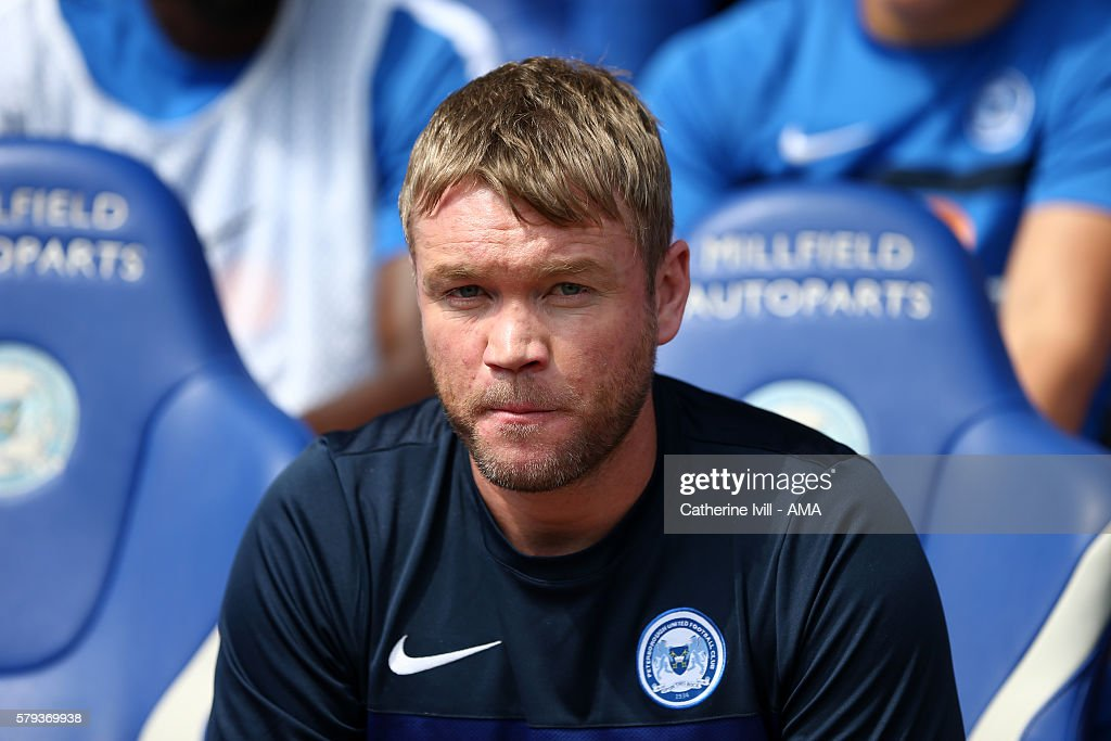 Grant McCann manager of Peterborough United during the Pre-Season Friendly match between Peterborough United and Leeds United at London Road Stadium on July 23, 2016 in Peterborough, England.