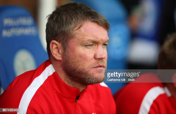 Grant McCann manager of Peterborough United during the Sky Bet League One match between Peterborough United and Shrewsbury Town at ABAX Stadium on...