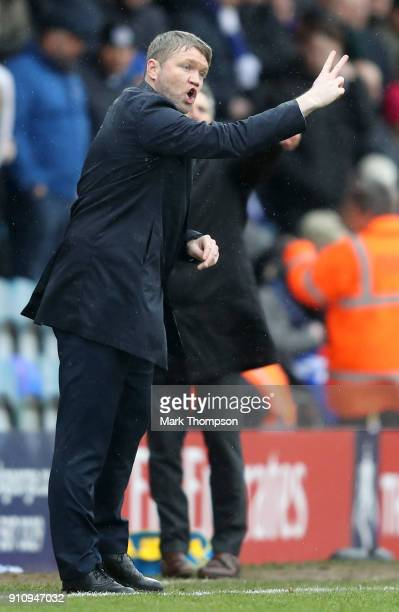 Grant McCann Manager of Peterborough United gives his team instructions during The Emirates FA Cup Fourth Round match between Peterborough United and...