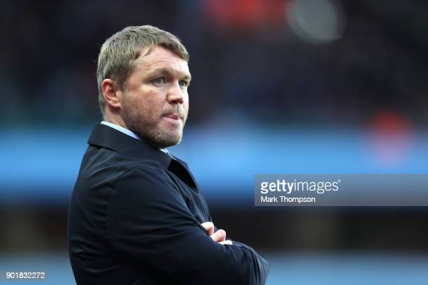 Grant McCann Manager of Peterborough United look on during the The Emirates FA Cup Third Round match between Aston Villa and Peterborough United at...
