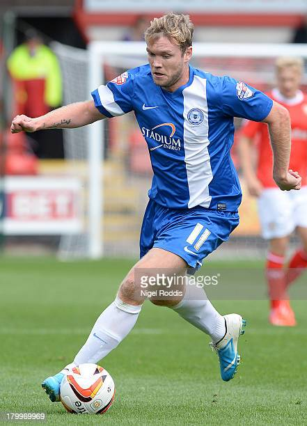 Grant McCann of Peterborough United during their Sky Bet League One match against Crewe Alexander at the Alexandra Stadium on September 7 2013 in...