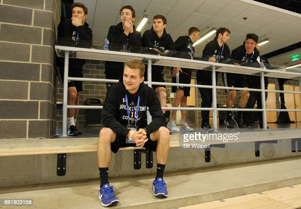 Grant Mismash and other prospects watch during the NHL Combine at HarborCenter on June 3 2017 in Buffalo New York