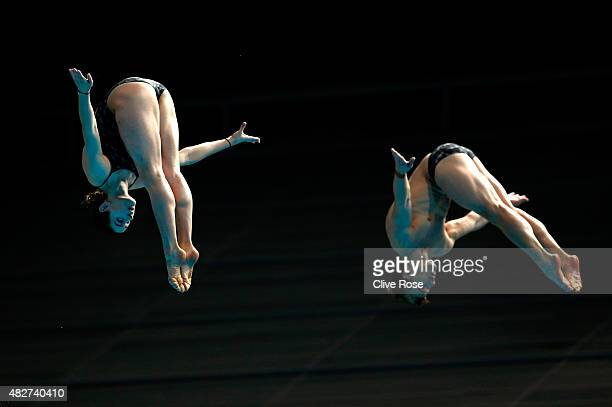 Grant Nel and Maddison Keeney of Australia compete in the 3m Springboard Synchronised Mixed Diving Final on day nine of the 16th FINA World...