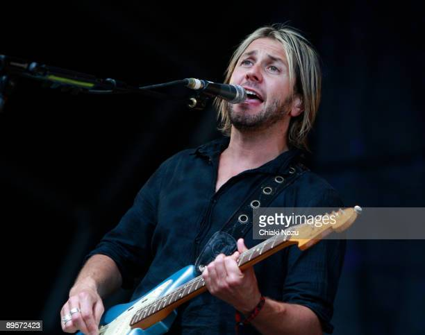Grant Nicholas of Feeder performs on stage at Knebworth House on August 2, 2009 in Stevenage, England.