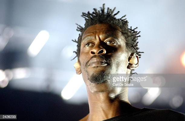 Grant of the British group Massive Attack performs to a crowd of approximately 10000 at Queens Square August 25 2003 in Bristol United Kingdom The...