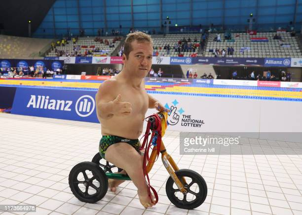 Grant Patterson of Australia on his scooter on Day Two of the London 2019 World Para-swimming Allianz Championships at Aquatics Centre on September...