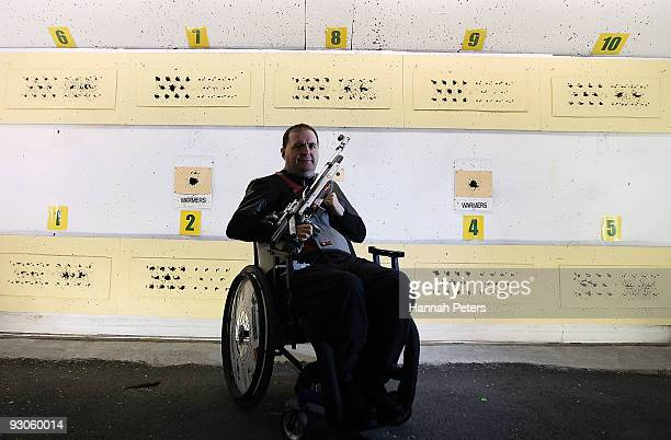 Grant Philip of Canterbury poses for a portrait before competing in the 10m Air Rifle Standing R4 event at the Keene Shooting Range on November 15...