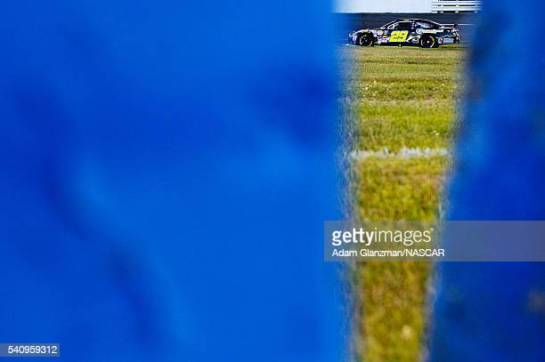 Grant Quinlan driver of the International Tool Mold Toyota during qualifying for the NASCAR KN Pro Series East Stafford 150 at Stafford Motor...