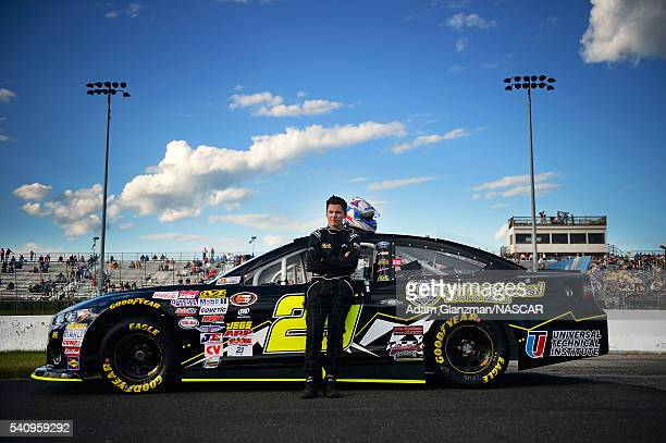 Grant Quinlan driver of the International Tool Mold Toyota looks on during qualifying for the NASCAR KN Pro Series East Stafford 150 at Stafford...