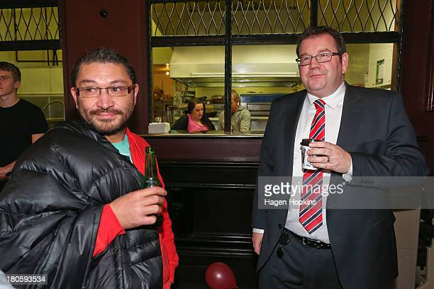 Grant Robertson and partner Alf Kaiwai look on at Astoria Cafe on September 15 2013 in Wellington New Zealand The Labour party today elected David...