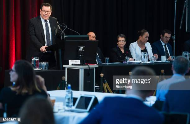 Grant Robertson New Zealand's finance minister speaks during a news conference in Wellington New Zealand on Thursday Dec 14 2017 New Zealands budget...