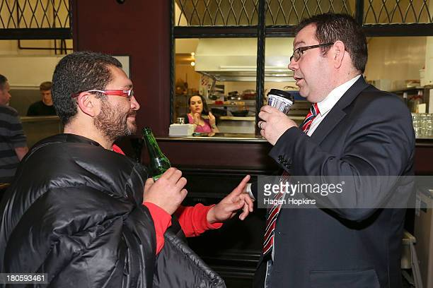 Grant Robertson speaks to partner Alf Kaiwai at Astoria Cafe on September 15 2013 in Wellington New Zealand The Labour party today elected David...