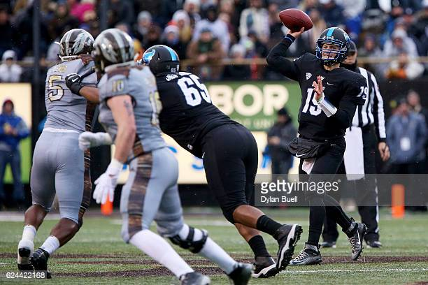 Grant Rohach of the Buffalo Bulls throws a pass in the first quarter against the Western Michigan Broncos at Waldo Stadium on November 19, 2016 in...