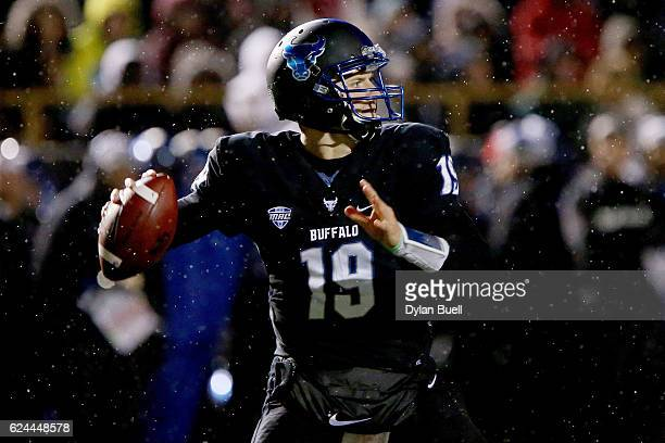 Grant Rohach of the Buffalo Bulls throws a pass in the third quarter against the Western Michigan Broncos at Waldo Stadium on November 19 2016 in...