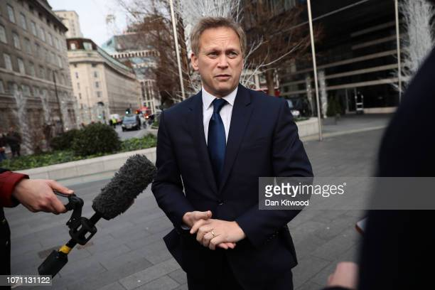 Grant Shapps leaves the Park Plaza Hotel Westminster on December 10 2018 in London England The Government are believed to have delayed the Meaningful...