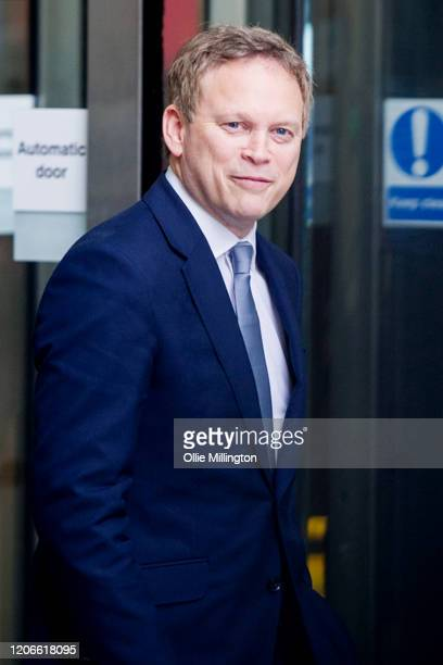 Grant Shapps Secretary of State for Transport leaves BBC Broadcasting house after attending the Andrew Marr Sunday Morning BBC Politics show on...