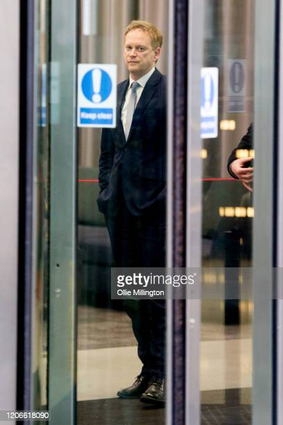 Grant Shapps Secretary of State for Transport prepares to leave BBC Broadcasting house after attending the Andrew Marr Sunday Morning BBC Politics...