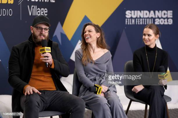 Grant Sputore Hilary Swank and Clara Rugaard of 'I Am Mother' attend The IMDb Studio at Acura Festival Village on location at The 2019 Sundance Film...