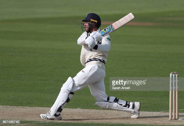 Grant Stewart of Kent hits a boundary during day 1 of the match between Kent and Sussex at The Spitfire Ground on May 11 2018 in Canterbury England