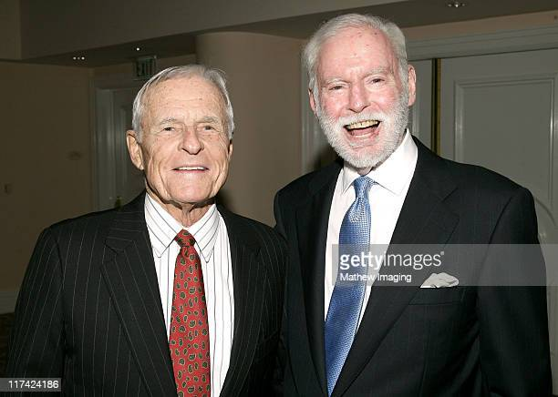 Grant Tinker and Leonard Goldberg during Academy of Television Arts Sciences Hall of Fame Ceremony Inside and Reception at Beverly Hills Hotel in...