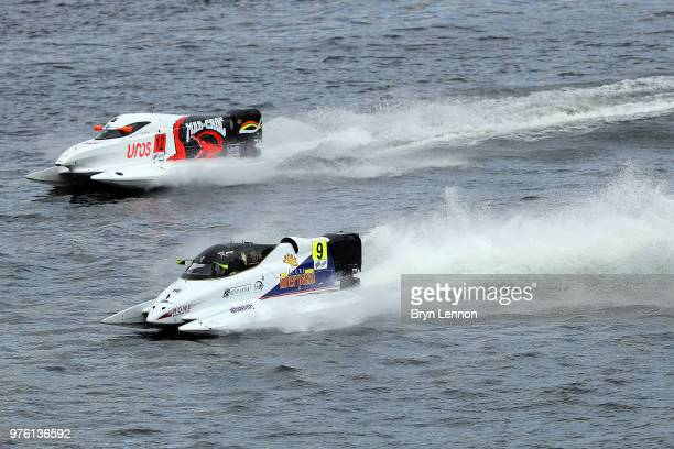 Grant Trask of Australia and the F1 Atlantic Team passes Filip Roms of Finland and Mad Croc Baba Racing during free practice for the F1H2O UIM...