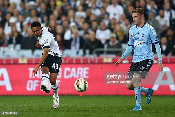 Grant Ward of Hotspur takes a shot at goal during the international friendly match between Sydney FC and Tottenham Spurs at ANZ Stadium on May 30...
