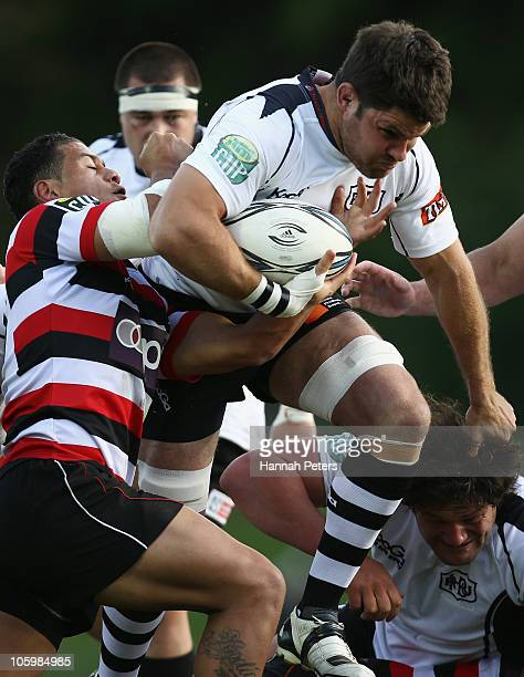 Grant Webb of Hawke's Bay charges forward during the round 13 ITM Cup match between Counties Manakau and Hawke's Bay at Bayers Growers Stadium on...