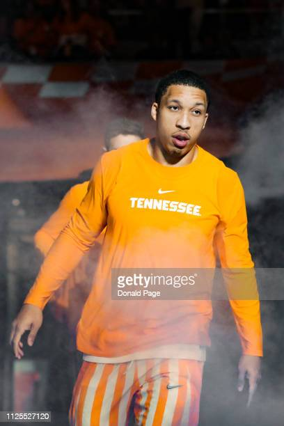 Grant Williams of the Tennessee Volunteers leads the team out during introductions before the game between the West Virginia Mountaineers and the...