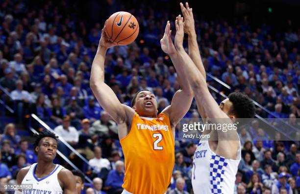 Grant Williams of the Tennessee Volunteers shoots the ball against the Kentucky Wildcats during the game at Rupp Arena on February 6 2018 in...