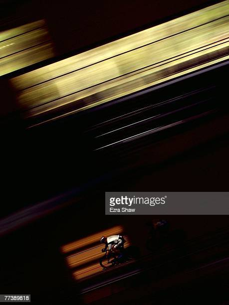 Grant Wilson of New Zealand competes in the Mens 750m Team Sprint Heats during the UCI World Masters Track Cycling Championships at The Dunc Gray...