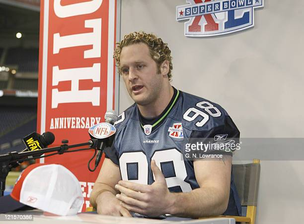 Grant Wistrom during Seattle Seahawks media day for Super Bowl XL at Ford Field in Detroit Michigan on January 31 2006