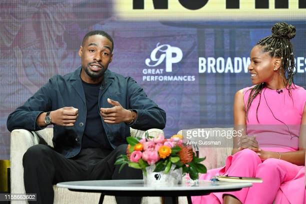 Grantham Coleman and Margaret Odette of Much Ado About Nothing speak during the 2019 Summer TCA press tour at The Beverly Hilton Hotel on July 30...