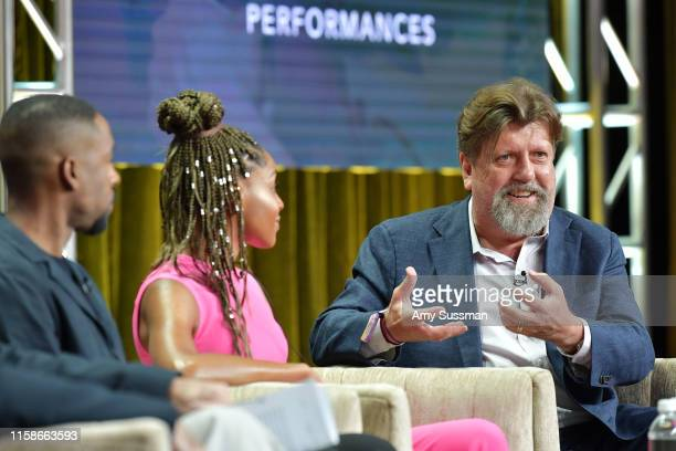 Grantham Coleman Margaret Odette and Oskar Eustis of Much Ado About Nothing speak during the 2019 Summer TCA press tour at The Beverly Hilton Hotel...