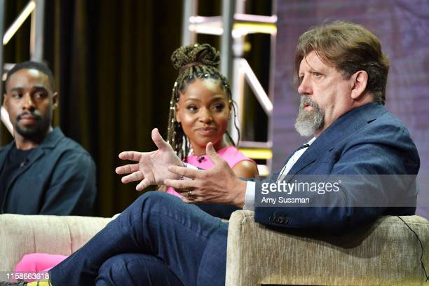 Grantham Coleman Margaret Odette and Oskar Eustis of Much Ado About Nothing speaks during the 2019 Summer TCA press tour at The Beverly Hilton Hotel...