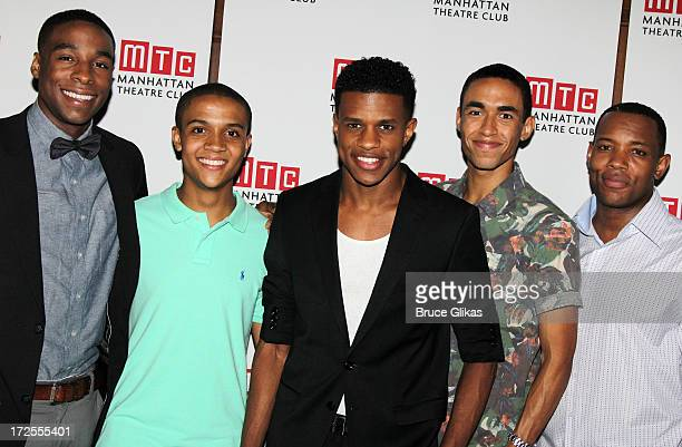 """Grantham Coleman, Nicholas Ashe, Jeremy Pope, Kyle Beltran and Wallace Smith attend the opening night part for """"Choir Boy"""" at Inside Park at St...."""