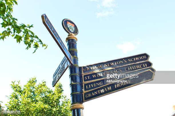 grantham direction signs - grantham lincolnshire stock photos and pictures