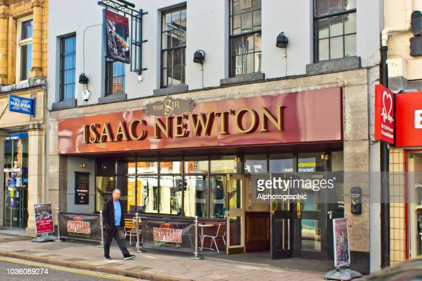 grantham high street and the sir isaac newton pub - grantham lincolnshire stock photos and pictures
