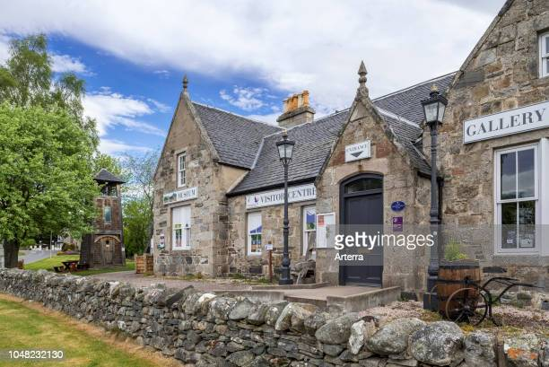 Grantown's Bell Tower and Burnfield House, now musem and visitor centre in the village Grantown-on-Spey, Moray, Highland, Scotland, UK.