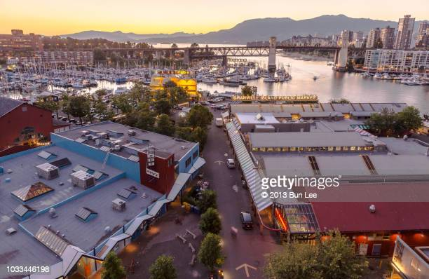 VANCOUVER JULY, 2014: Granville Island at sunset time