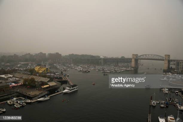 Granville Island is seen as smoke from wildfires fills the air in Vancouver, British Columbia, Canada on September 12, 2020. Vancouver was listed as...