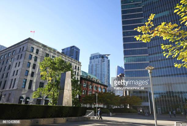 granville square, downtown vancouver, british columbia, canada in autumn - government building stock pictures, royalty-free photos & images