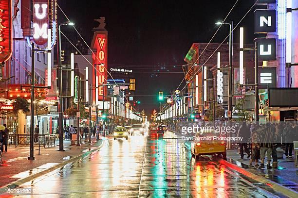 Granville street in rain