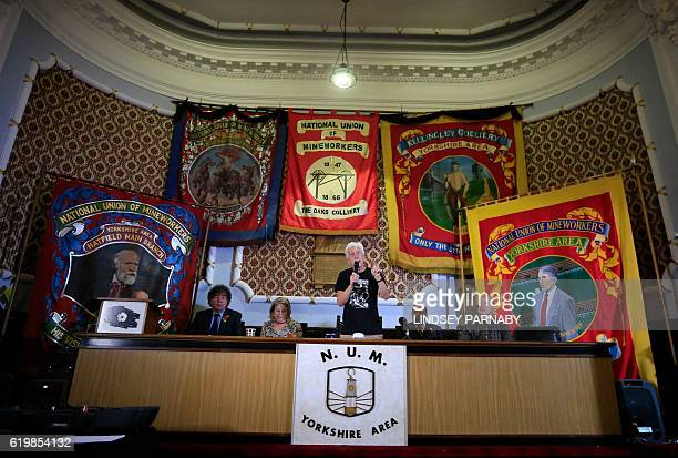 Granville Williams of the Orgreave Truth and Justice Campaign speaks during a media conference next to Barbara Jackson founder of the campaign at the...