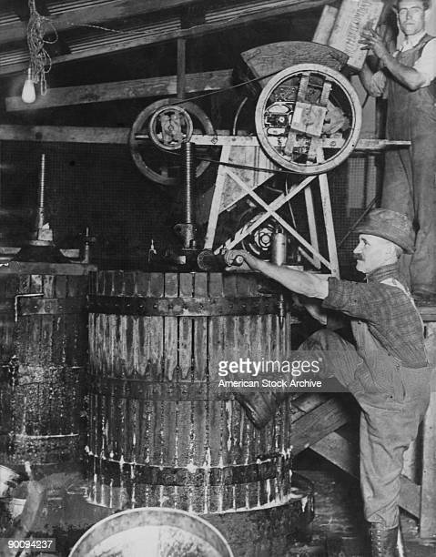A grape press in San Francisco's Italian colony during Prohibition 18th November 1925 The grape juice is sold to people who then make their own...