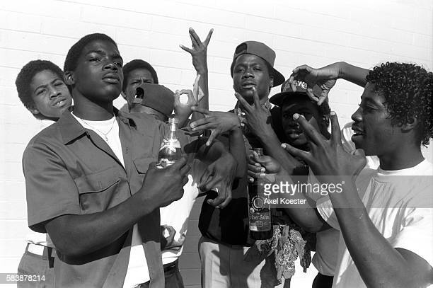 Grape Street Watts members pose with a bottle of Silver Satin liquor which they drink mixed with grape CoolAid The Grape Street Watts Crips are a...