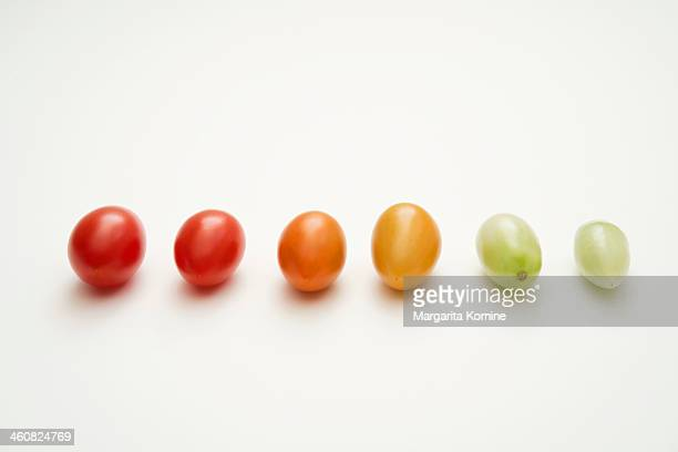 Grape tomato ripening stages with shine
