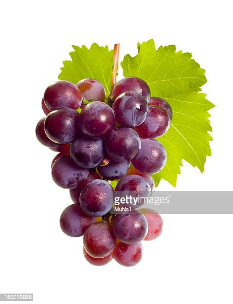 grape with leaf - druif stockfoto's en -beelden